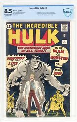 """INCREDIBLE HULK 1 CBCS not CGC 8.5 KEY 1962 """"Exceptional WHITE Pages"""""""