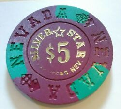 1990 Silver Star Casino Las Vegas Nevada 5.00 Gaming Chip Great For Collection