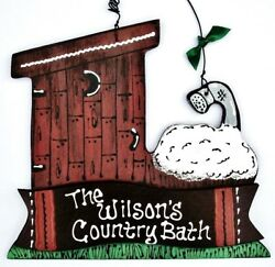 Personalize Country Bath Outhouse Bathtub Name Sign Wall Hanging Bathroom Plaque