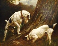 Large 19th Century Jack Russell Terriers At A Burrow Dog John F. PARSONS
