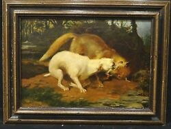 Large 19th Century English White Terrier Dog & Fox Fight William Henry TROOD