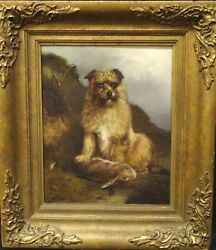 19th Century English School Portrait Brown Terrier Dog A& Rabbit George ARMFIELD