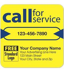250 Call For Service Labels On Yellow High Gloss / 3 X 3 / Nebs Deluxe 58166