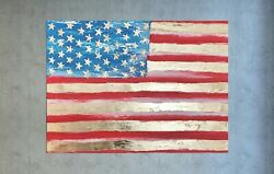 Original American Flag Gold Leaf Art Canvas Textured Palette Painting 30x40and039and039