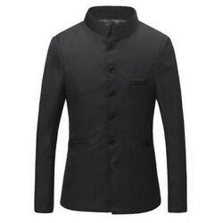 Men Stand Collar Chinese Formal Dress Traditional Black Suit Jacket Jacket Retro