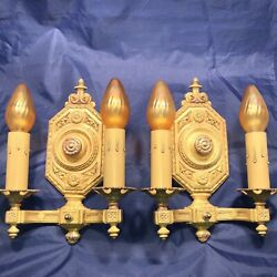 Pair Of Quality Heavy Andldquocrescent Andldquo Antique Brass Double Candle Wall Sconces 27a