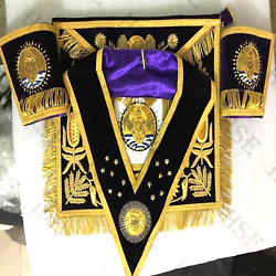 Scottish Rite 96th Degree Apron With Embroidery Collar And Cuffand039s Purple-aap