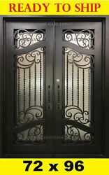STRAIGHT TOP WROUGHT IRON FRONT ENTRY DOORS TEMPERED GLASS 72''X96'' DGD1090