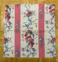 Antique French Cotton Fabric, Romantic Floral Bouquet With Ribbon, Stripe Layout