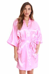 Just Love Womens Satin Solid Kimono Robe 6756-PNK-M
