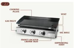 Bbq 3 Burner Gas Griddle Restaurant Stainless Steel Iron Cooking Grill