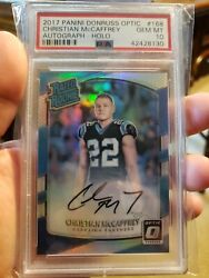 2017 Panini Donruss Optic Christian Mccaffrey Auto Holo Psa 10 Out Of 99