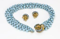 Miriam Haskell 1950's Frank Hess Blue Glass Beads Flower Necklace Earrings Set