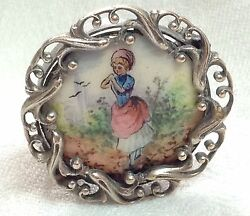 Antique Georgian Enamel Sterling Brooch Of Young Girl Late 1700's Early 1800's