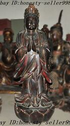 Huge China Temple Lacquerware Old Wood Carved Goddess Guanyin Bodhisattva Statue