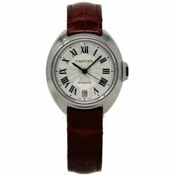 Cartier New Cle 35mm WSCL0017 Silver Stainless Steel Leather BoxPaperWTY #CA84