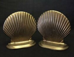 Vintage Brass Mollusk Shell Bookends Very Collectible Great Detail