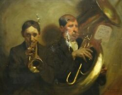 Large 19th Century Italian French Trumpet And Tuba Horn Musicians Antique Signed