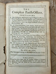 The Compleat Parish-officer Giles Jacob 1718. Extremely Rare First Edition
