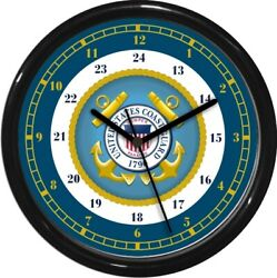 United States Coast Guard 24 Hour Wall Clock Military Patriotic Armed Services