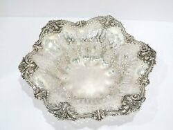 12.5 In Sterling Silver Black Starr And Frost Antique Openwork Flower-shaped Bowl