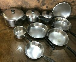 Vintage 12 Piece Revere Ware Stainless Steel Copper Clad Cookware Set Pre 1968
