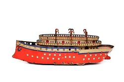 Rare Vintage Orobr Germany No. 207 Ocean Liner Ship Tin Wind-up Toy 1920and039s