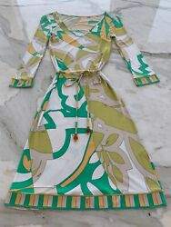EMILIO PUCCI WHITE GREEN MULTI PRINT BELTED LONG SLEEVE DRESS 81RH72 SIZE 6