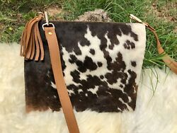 Cowhide Crossbody Purse Handbag Wallet Clutch Bags Dark Brown Cow Leather Fur $59.99