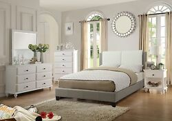 Bedroom Furniture Full Bed Unique Modern Wooden 4pc Set White Leather Panel HB