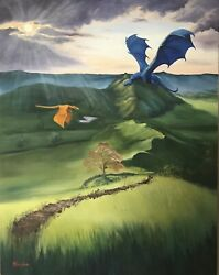 Original Dragon Fantasy Art Oil Painting On Canvas Valley Of Dragons 22x28