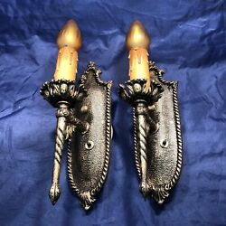 Wired Pair Antique 1920's Sconces Newly Wired Electric Candles 51a