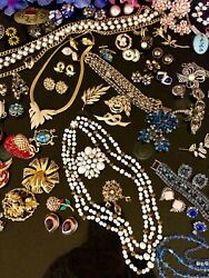 High End Vintage Rhinestone Jewelry Lot 155+HaskellCarnegieJuliana Bk14k 925+