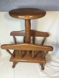 Authentic Furniture Prod's Wood Plant Stand Mag Rack Mid Century Modern Japan