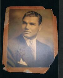 Old Very Rare Ca 1915 Jack Dempsey Autographed Large Cabinet Photo 12x15 Boxing