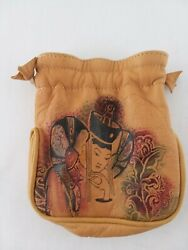 Leather Asian design Pouch Small