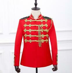 Mens Military Gold Buttons Stand Collar Stage Show Jacket Embroidery Coat Sz