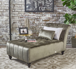 Velvet Chaise Lounge Chair Day Bed Sofa Bedroom Tufted Loveseat Furniture Gray