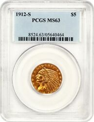 1912-S $5 PCGS MS63 - Indian Half Eagle - Gold Coin - Scarce Date