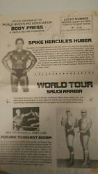 Vintage Autographed 17 1/2 X 22 1/2 Poster Spike Huber 1980and039s Wrestling Rare
