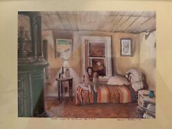 2015 Outsider Art Painting Cozy Night By The Round Oak Stove By Edward Gittens