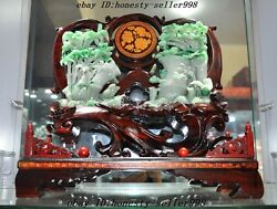 A Level Emerald jade exquisite carved bamboo Flowers bird Orchids Decoration set