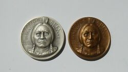 Sitting Bull Medallic Art Co. .999 Silver And Solid Bronze Medals South Dakota St.
