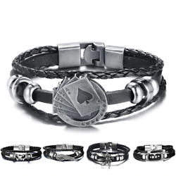 Bracelet Lucky Vintage Men Leather Playing Cards Charm Multi-layer Braided Women