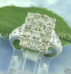 Antique Inspired 2.10 Ct 14k Solid White Gold Natural Champagne Diamond Ring
