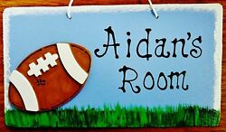 Personalize FOOTBALL SPORTS Name SIGN Kids Door Room SIGN Wall Bedroom Plaque