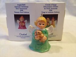 1996 GOEBEL ANGEL BELL CHRISTMAS ORNAMENT - GREEN - WITH PUPPY - 21ST ED.