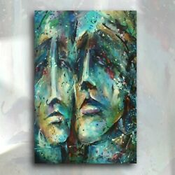 Art Original Painting Mix Lang Urban Expression Figurative Spirits C.o.a.