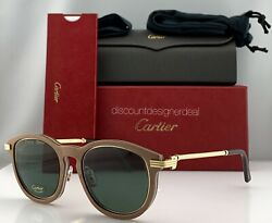 Cartier Première Sunglasses Brown Wood Frame Gold  Green Polarized CT0054S 001