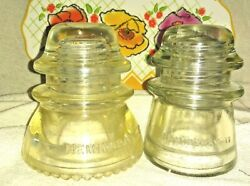 Lot Of 2 Vintage Hemingray 42 And 17 Glass Insulators Clear